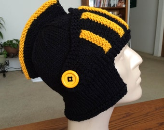 knitted knight hat, knitted knight helmet, acrylic, helmet, hat, costume sir knight, winter hat, knitted head dress