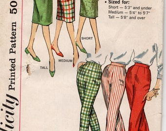 1950s VINTAGE SIMPLICITY PATTERN. Pants & Skirt. 3257 Waist 26 Hip 36