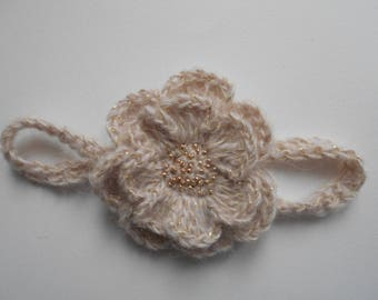 baby girl in beige crochet wool Headband ' and embroidered ' hand