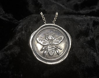Bee silver wax seal pendant / silver Bee pendant