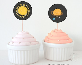 INSTANT DOWNLOAD || Cupcake Toppers, Birthday, Party, Kid's, Space, Sun, Planets, Solar System, Sun, Moon