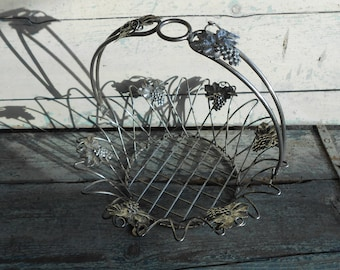 Vintage Italian wire fruit basket with pretty grape and vine leaf design, bread basket, metal fruit bowl