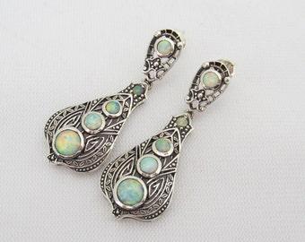 Vintage Sterling Silver Fire Opal Filigree Earrings