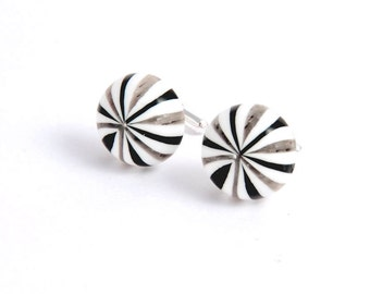 Cuff Links, Black White Swirl Stripe Cufflinks, Carnival inspired links, Birthday Gifts for Men Man Male Him Father Dad