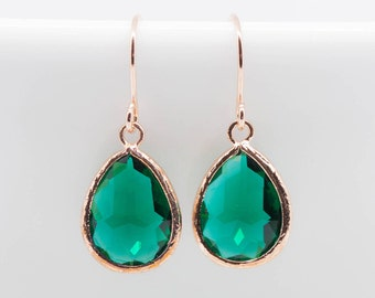Earrings Rosegold drops Green emerald Emerald Earrings