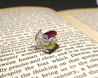 Pin Badge, Stack of Books - Book Jewellery by Coryographies (Made to Order)