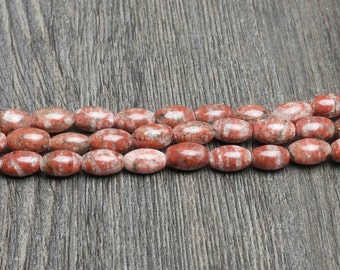 Natural Sesame Red Jasper Stone Seed Beads Supplies, Full Strand 4x6 5x8 5x12mm Red Jasper Gemstone Beads for DIY Jewelry Making