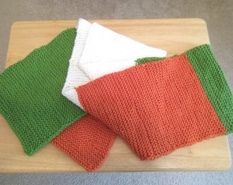 Scarf - Long Hand Knitted Scarf for the Irish People - Colors are Green, White and Orange