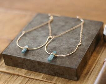 Kyanite gold filed half moon hoops, gold earrings, feminine jewelry, dainty earrings, gift for her