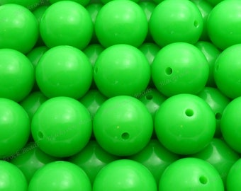20mm Kelly Green Chunky Bubblegum Beads - 10pcs - Candy Color Gumball Beads, Chunky Beads, Round Acrylic Beads - BR1-10