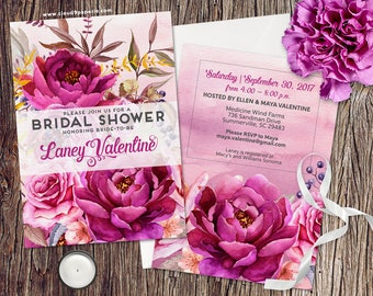 PRINTED Bridal Shower Invitation, Watercolor Bridal Shower Invite, Watercolor Floral Bridal Shower Invitation, Elegant Bridal Shower Invite