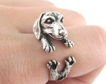 NEW ITEM! 2PCS Antique Black Dachshund Puppy Wrap Ring