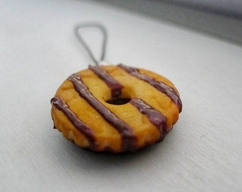 Fudge Striped Shortbread Cookie Charm | Polymer clay