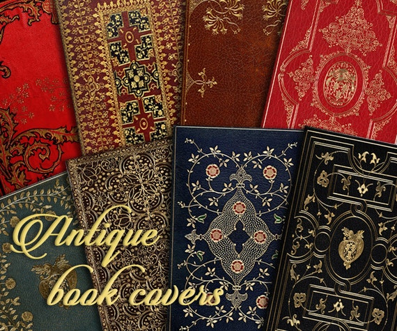 Old Book Cover Printable ~ Antique book covers gold embossed instant download