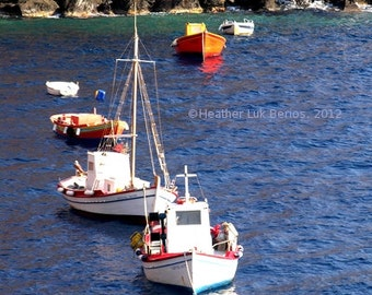 Greece Photography - Boats - Santorini - Wall Decor - Mediterranean Fine Art Print