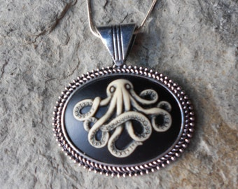 Octopus Hand Painted Cameo Necklace - Nautical, Naval, Cruise, Vacation, Ship, Ocean, Squid, Sea, Steampunk
