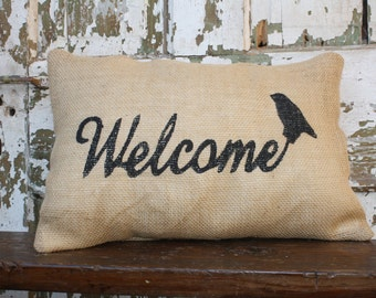 Burlap Welcome Pillow Cover 12x16