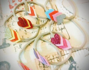 Felt hearts headband collection