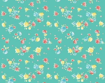 20% OFF Penny Rose Fabrics Bunnies and Blossoms Teal Blossoms