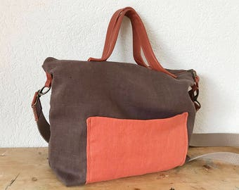 European Linen Tote in Brown and Rust Colour - Messenger Bag - Zippered Linen Tote - Crossbody Bag - Diaper Bag - Rust Leather Handles Bag