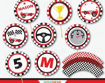 Race Car Cupcake Toppers - Race Car Party - Race Car Birthday - Racing Party - Racing Birthday - Go Kart - Race Car Decor (Instant Download)