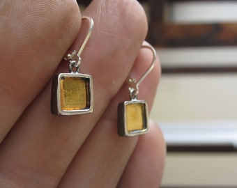 Sterling Silver and 24K Gold Earrings
