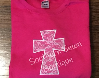 Ladies Plus Size Lace Cross Appliqué Sweatshirt With Your Choice of Thread Color