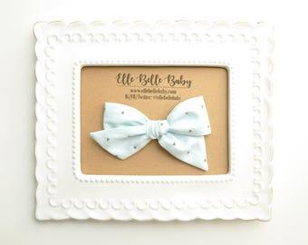 Baby Blue & Crescents Schoolgirl Hair Bow - Hand-tied hairbow-Evy bow -Cotton Baby Headband - Newborn Hairbow - Toddler Hair Clip