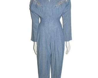 Vintage Option Light Blue Blue Applique Studs Embroidery Embellished Dolman Sleeve Stand Up Collar Avant Garde Space Age 80's Jumpsuit