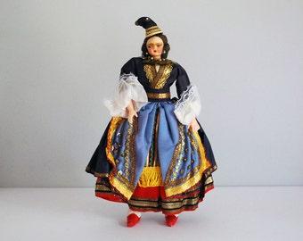 Vintage Cloth Doll, Eastern European Woman, Textile Folk Art, Colorful Ethnic Dress, Boho Home Decor, Travel Souvenir, International Doll
