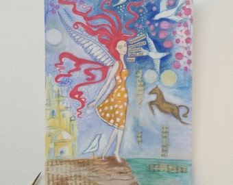 Original whimsical watercolour illustration with collage elements.