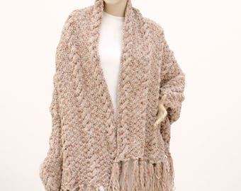 Knit wrap shawl blanket shawl scarf cable pattern shrug capelet in beige with COLOR OPTION aviable