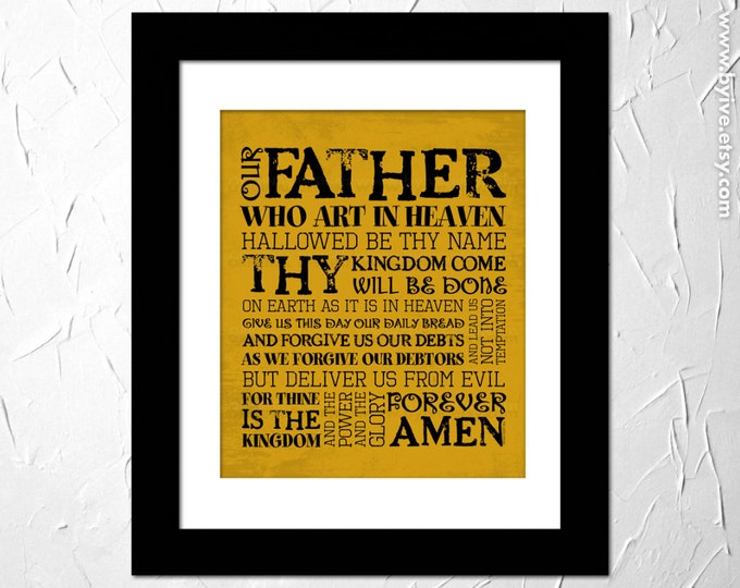 The Lords Prayer. Our Father. Matthew 6:9-13. Inspirational Prayer. Subway Art. Unframed.