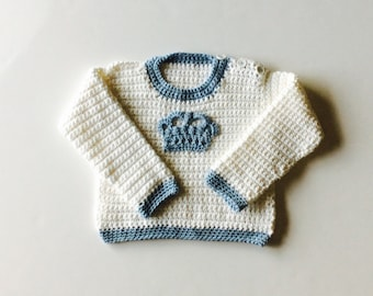 Royal Baby sweater, crochet baby sweater, boy or girl sweater with crown applique, custom sizes from 6m to 24m