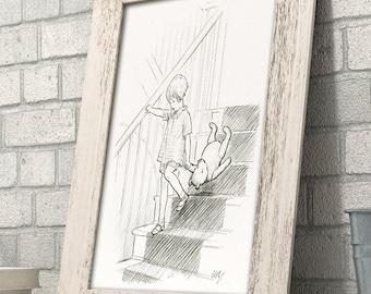 Stairs v2 - Winnie the Pooh 11x14 Unframed Nursery Art Print