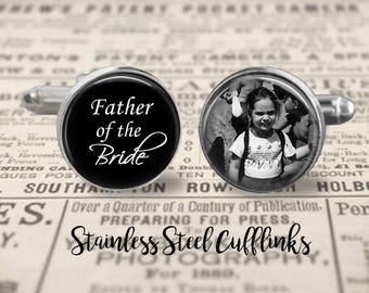 Stainless Cufflinks, Father Of The Bride Cufflinks,Custom Photo Accessories, Wedding Cufflinks
