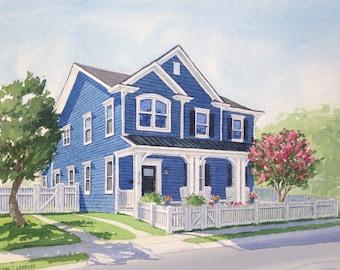 11x14 Custom Home Watercolor Portrait