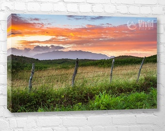 Rural canvas art, barbed wire fence, sunrise sky, lush tropical island print, 5 panel wall art, bedroom pictures, art for den, office decor
