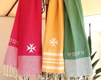 Beach towels with the Maltese Cross and the Coordinates of Valletta / Foutas / Embroidery