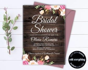 Rustic Bridal Shower Invitation - Country Bridal Shower Invite - Floral Bridal Shower Printable Invitation - Rustic wedding shower invite