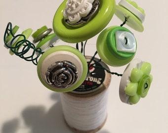 Wood Spool Button Flower Bouquet - Bright Green
