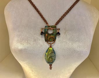 Handmade Copper Necklace with Removable Artisan Lampwork Pendant and Czech Flowers -OOAK