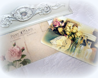 Set of 10 Victorian postcards, vintage back, Romantic dried roses, Bridal shower, Christmas gift, Stationary
