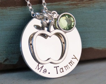 Personalized Teacher Jewelry - Hand Stamped Necklace - Sterling Silver Teacher Necklace
