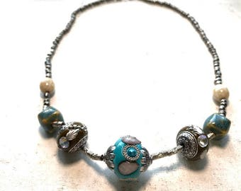 Teal Statement necklace| Beaded Necklace| Antique Set| Bridesmaid Gift | Gifts for her