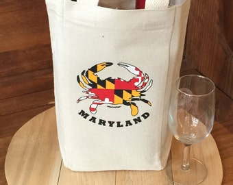 Liberty Bags Double Wine Tote/Bag  with the Maryland Crab Natural Color