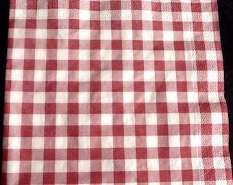 Red and white checkered napkin