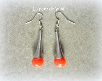 Earrings orange red silver handmade polymer clay beads