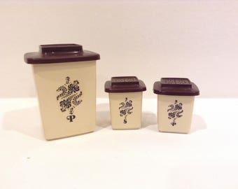 Vintage Brown Salt and Pepper Shakers - Vintage Cannister Shakers