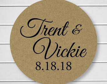 Wedding Stickers, Personalized Wedding Stickers, Name Wedding Stickers, Thank You Labels, Envelope Seals, Kraft (#291-KR)